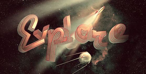 Design a Rocket-Powered Retrofuturistic Digital Illustration